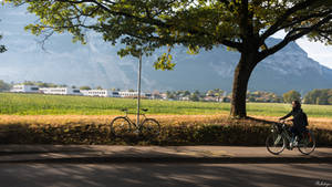 Geneva I love - with the bike near Saleve