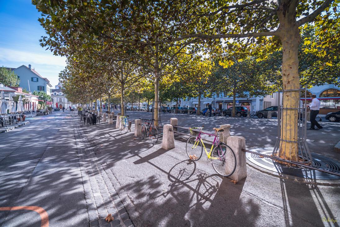 Geneva I love - bikes and shadows in Carouge by Rikitza