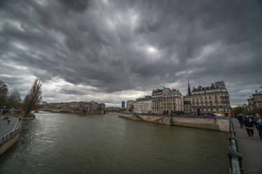 Paris the city of lights - View with the Seine by Rikitza