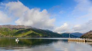 at the Hakone lake
