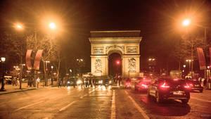 Paris - nocturne at the l'Arc de Triomphe