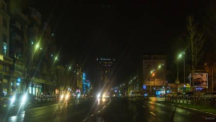 lights in the Bucharest night by Rikitza