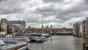 Amsterdam under murky sky
