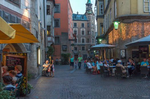 twilight in the city of Innsbruck