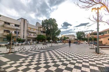 chess in twilight at Tel Aviv