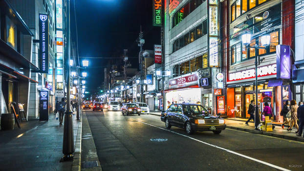 Night on a street in Kyoto