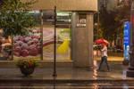 walking in rained Riga