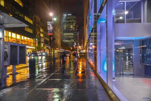 Manhattan night lights and reflections