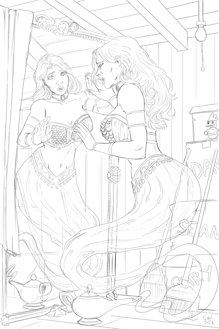 Genie Transformation Pinup/Cover Lineart by OldNorthridge
