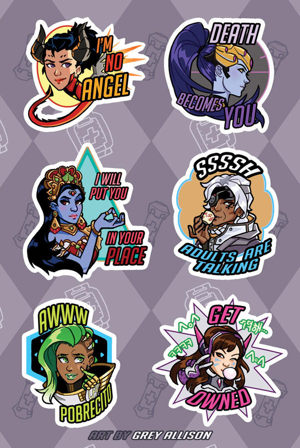 Overwatch Ladies Sticker Sheet by greyallison