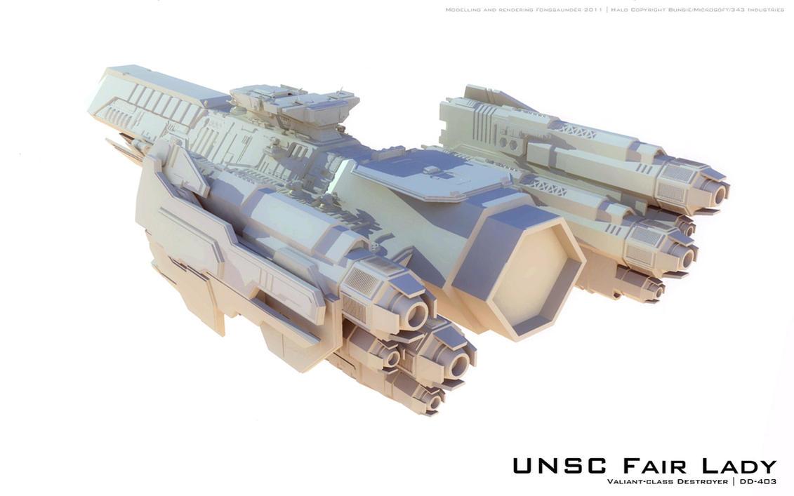 UNSC Destroyer Sneak Peak by fongsaunder