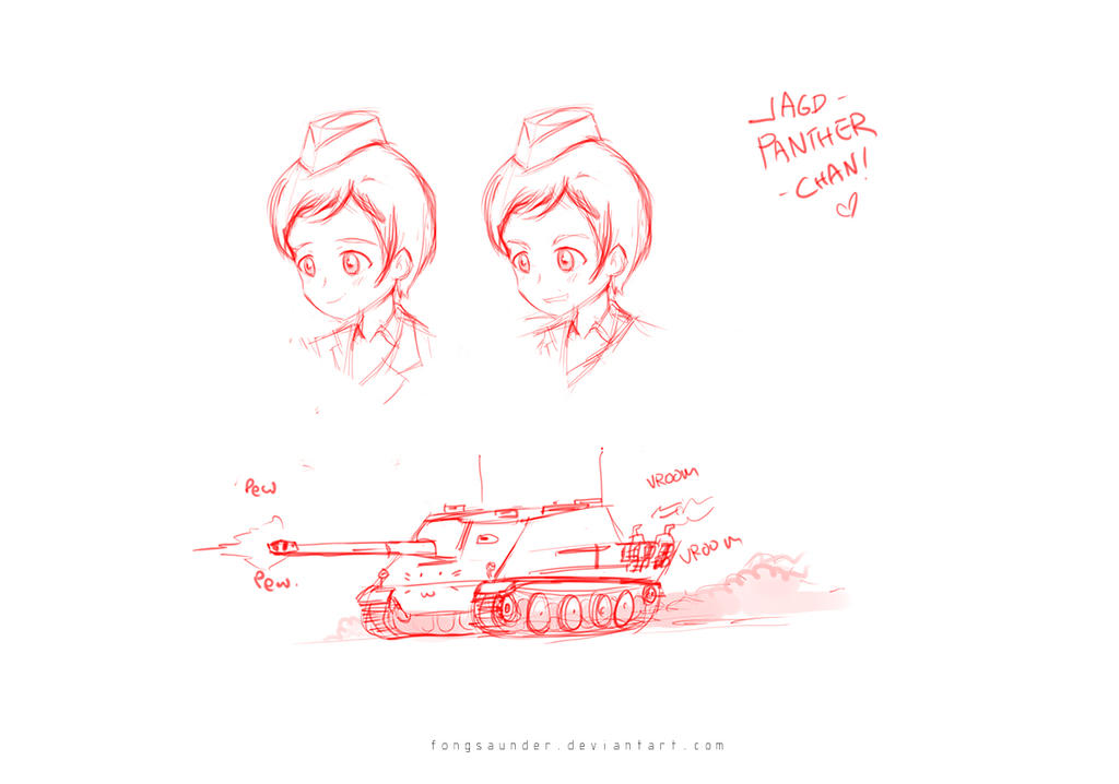 Adorable Jagdpanther Commander chan by fongsaunder