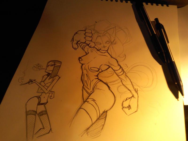 Sketching girls night by ivanev