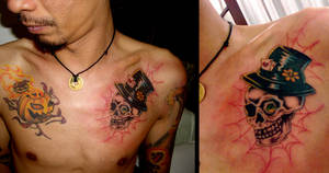 Madhatter skeleton Tattoo by camsy
