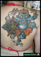 Ganesh Back Piece Tattoo by camsy