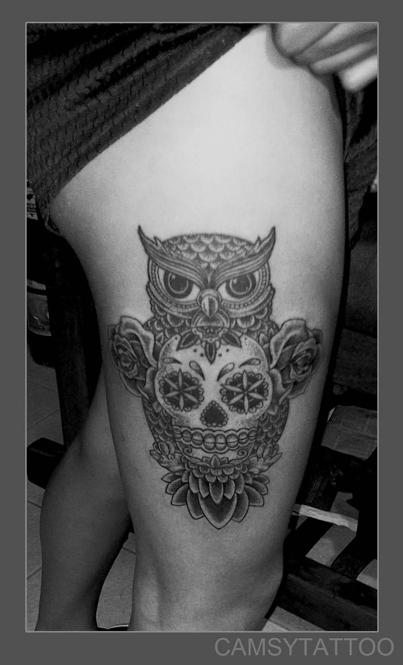 Skull owl tattoo by camsy on deviantart for Owl tattoo skull