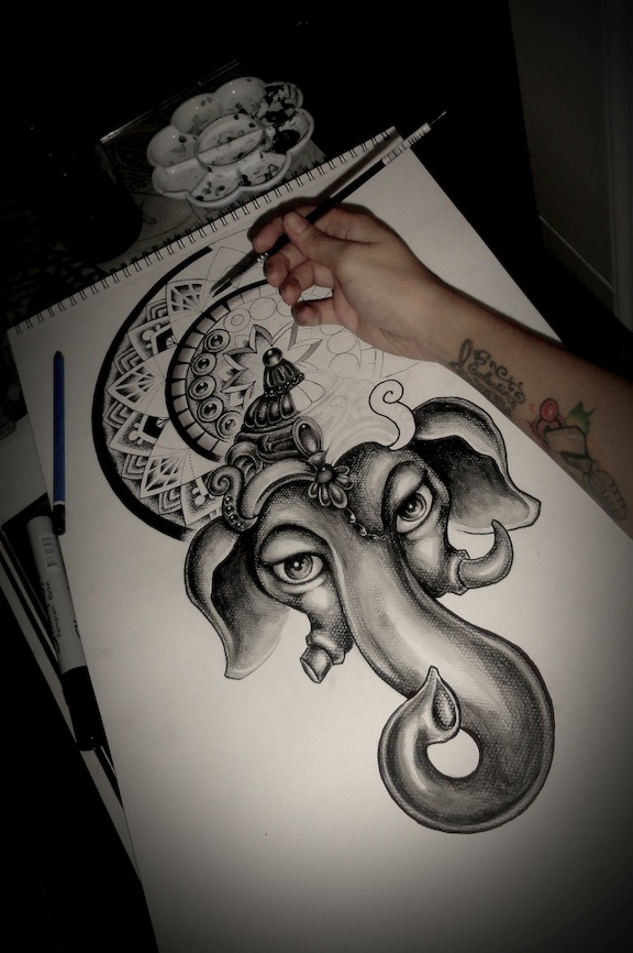 Ganesh Mandala in progress by camsy on DeviantArt