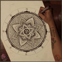 Sun mandala pointillism by camsy