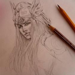 archangel Gabriel (comic sketch) by pannka144