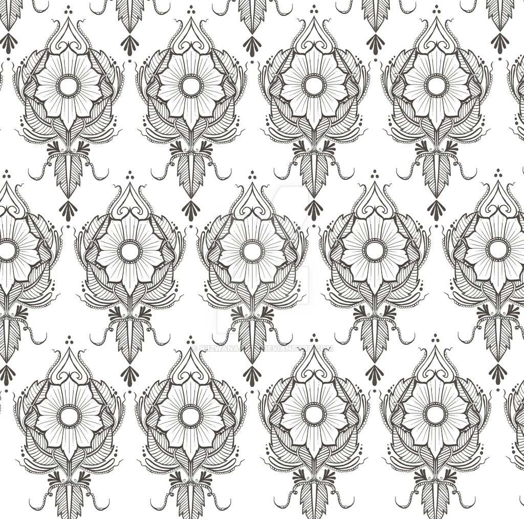 Henna Wallpaper: Floral Henna Pattern Print As A Wallpaper 2 By