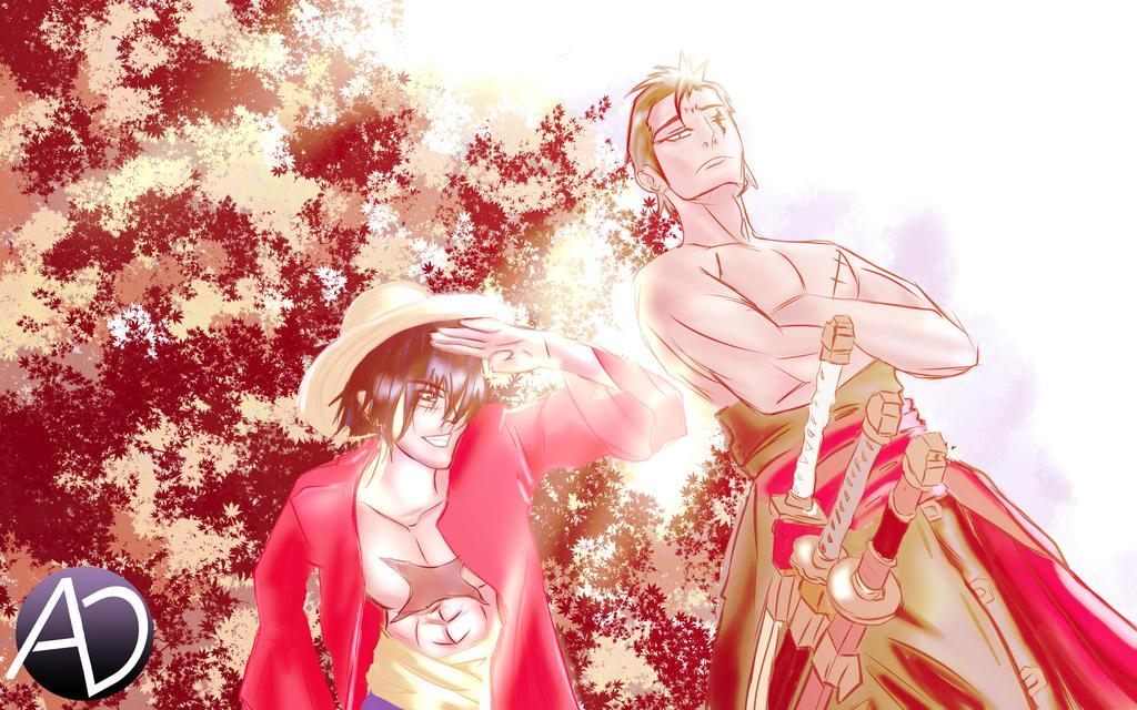 Monkey D Luffy x Rorona Zorro - One Piece Fanart by avenirdesign