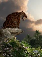 Smilodon Californicus Lookout by deskridge