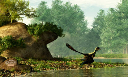 Archaeopteryx On Fishing Trip by deskridge