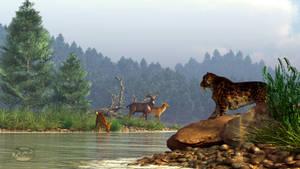 A Saber-Tooth Hunting Deer by deskridge