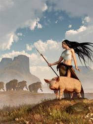 The Savage Hunting Pig by deskridge