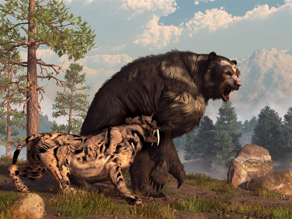 Short-faced Bear and Saber-Toothed Cat by deskridge