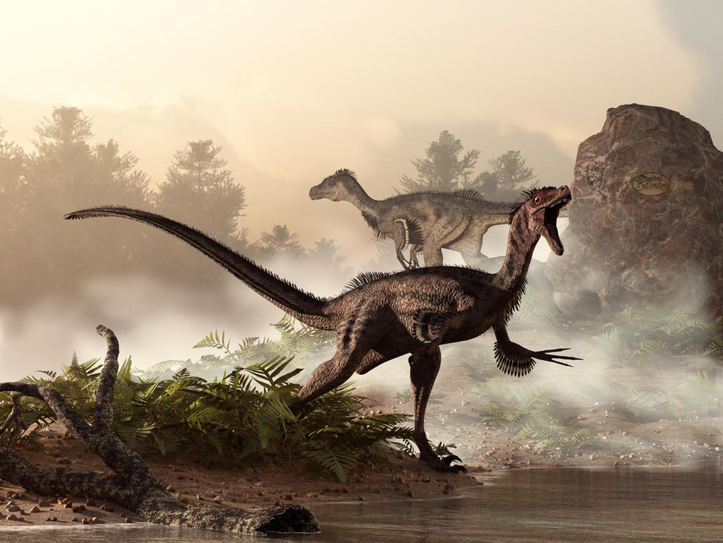 Velociraptors Prowling the Shoreline