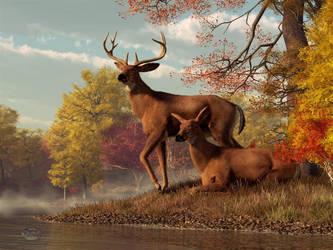 Deer on an Autumn Lakeshore by deskridge