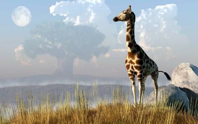 Giraffe and Giant Baobab by deskridge