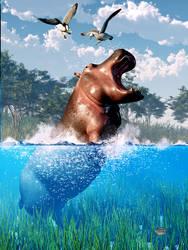Lunging Hippo by deskridge