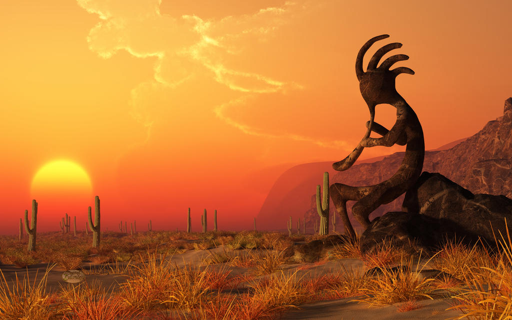 Kokopelli Sunset by deskridge  Kokopelli Art