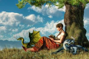 Reading About Dragons by deskridge