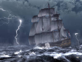 HMS Victory in a Storm by deskridge