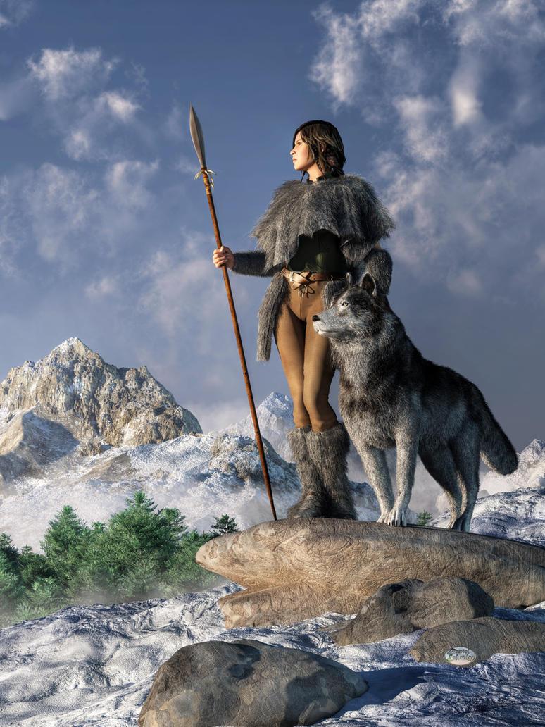 Huntress and Wolf by deskridge