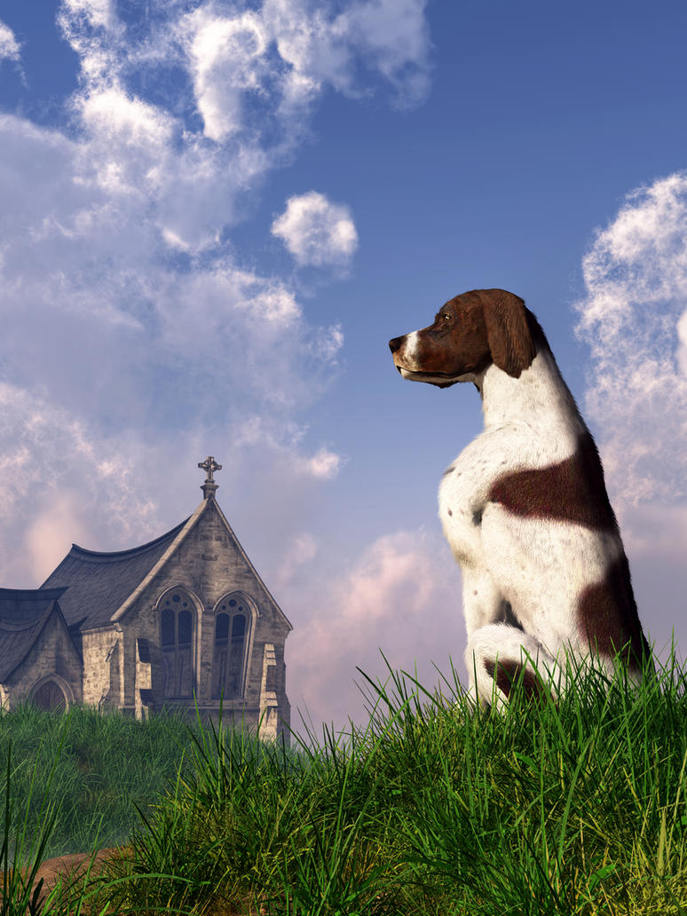English Pointer and Little Church by deskridge