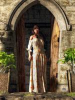 Woman at a Medieval Door by deskridge