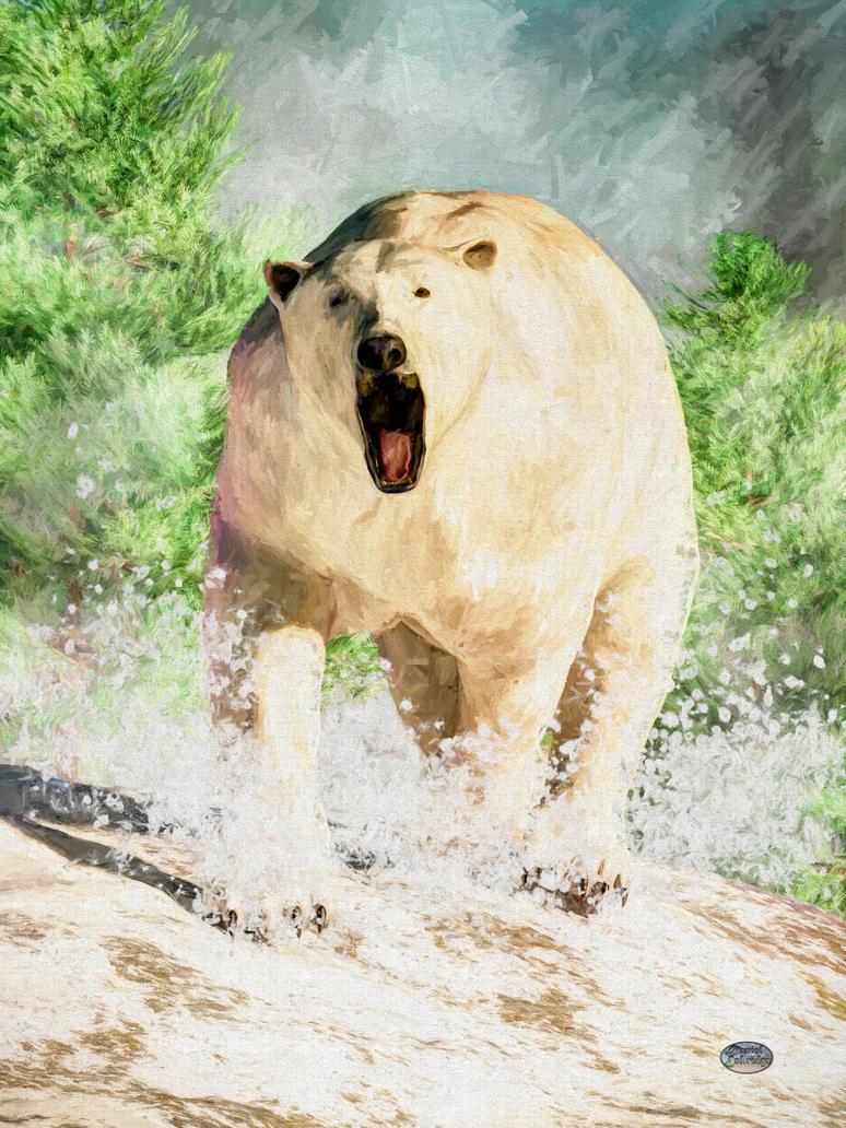 Charging Polar Bear by deskridge