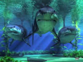 Three Sharks by deskridge