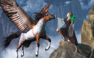 Elf Summoning a Pegasus by deskridge