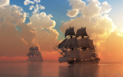 Pirate Sunset by deskridge