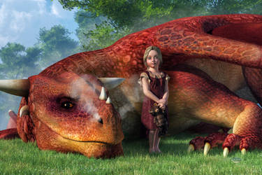 A Little Girl and Her Dragon by deskridge