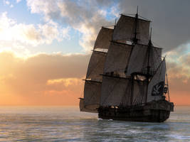 Pirate Ship Sunset by deskridge