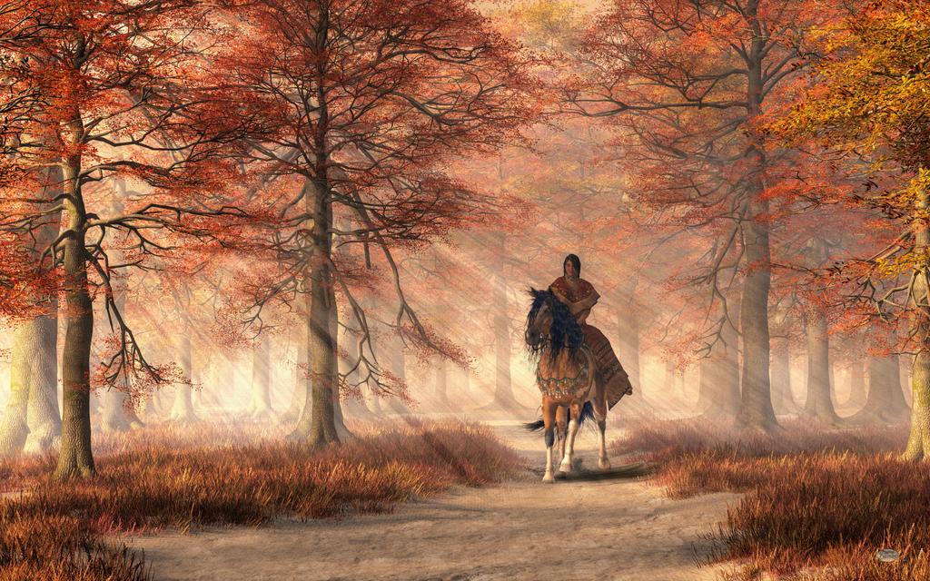 Riding on the Autumn Trail by deskridge