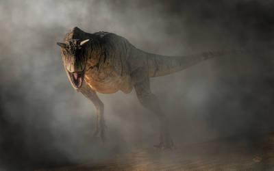 Carnotaurus Emerging From Fog
