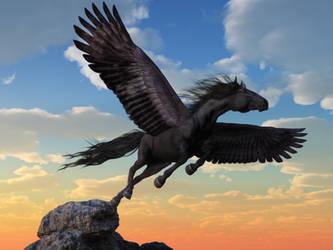 Friesian Pegasus by deskridge
