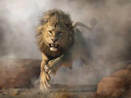 Lion Attack by deskridge